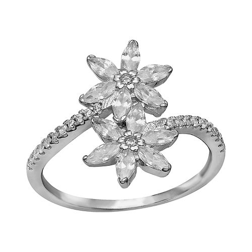 Women's Primrose Sterling Silver Cubic Zirconia Bypass Band Ring with Marquise Cubic Zirconia Flowers