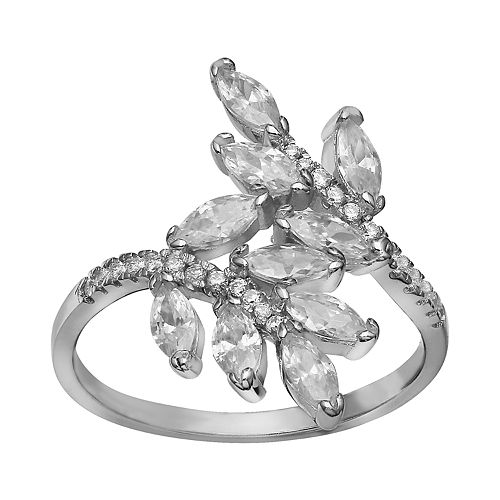Women's Primrose Sterling Silver Cubic Zirconia Marquise Leaf Polished Band Ring