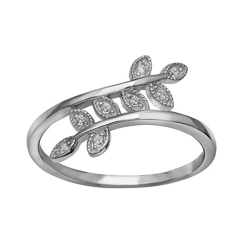 Women's Primrose Sterling Silver Polished Cubic Zirconia Beaded Leaf Bypass Ring