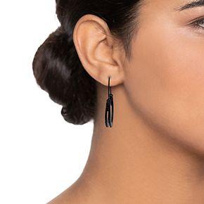 Simply Vera Vera Wang Black Pavé Threader Hoop Earrings