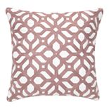 """22"""" Mauve Chainstitch Embroidered Feather Pillow"""
