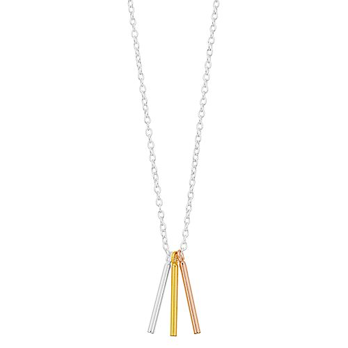 Women's Love This Life Tri Tone Bars Necklace