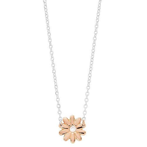 Love this life Cubic Zirconia Rose Gold Flower Necklace