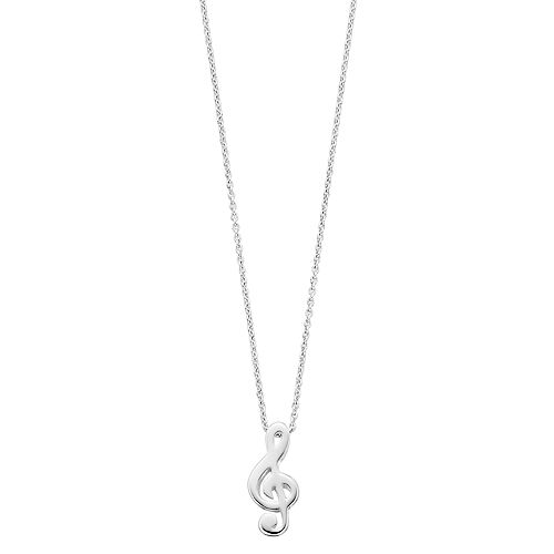 Womens love this life Silver Music Note Necklace