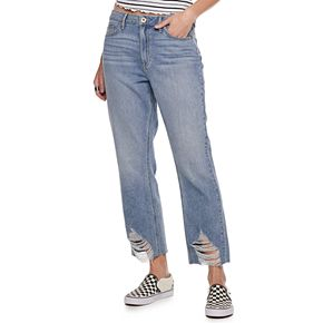 Juniors' American Rag High Rise Destructed Hem Denim Jean