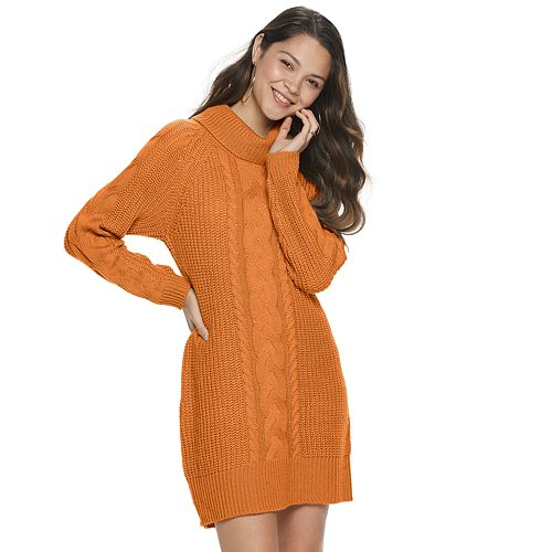 Juniors' It's Our Time Cowlneck Cable Front Sweater Dress