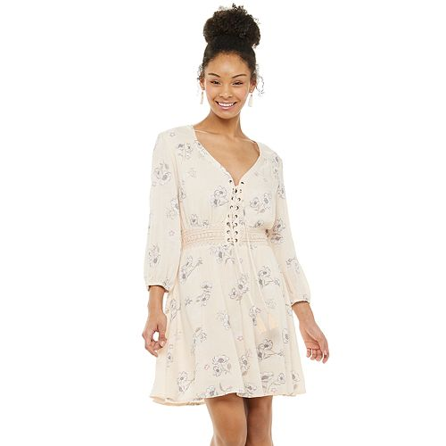 Juniors' American Rag Lace-Up Front Long Sleeve Dress