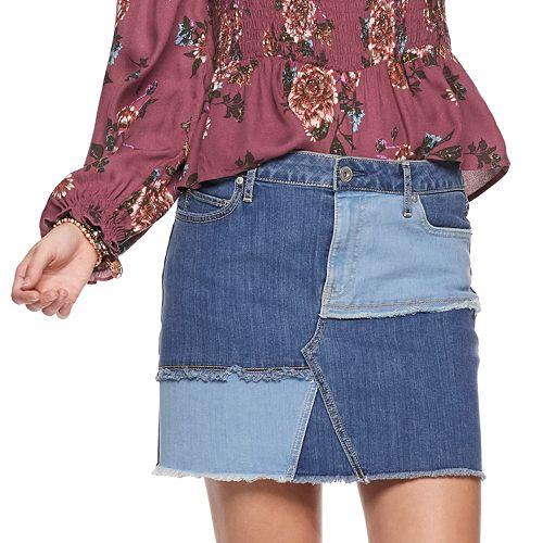 Juniors' American Rag Two Tone Pieced Denim Mini Skirt