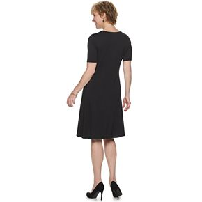 Petite Croft & Barrow Elbow Sleeve Knot Front Dress