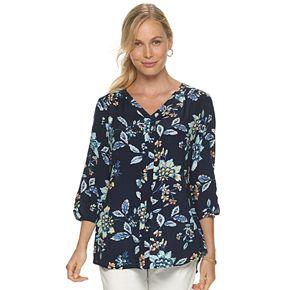 Petite Croft & Barrow® 3/4 Sleeve Floral Top