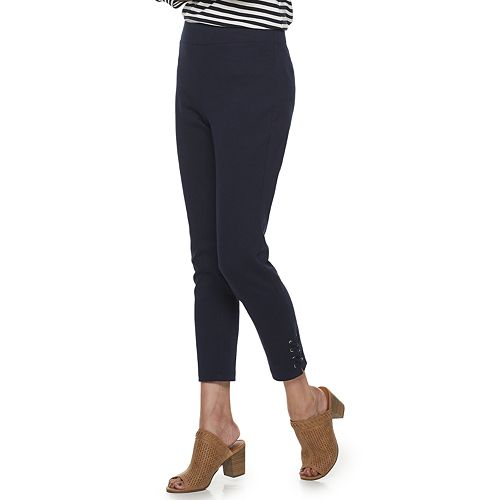 Petite Croft & Barrow® Lace-Up Hem Pull-On Leggings