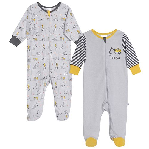 Baby Boy Just Born® Bulldozer 2 Pack Zip-front Sleep 'n Play