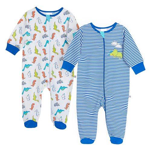 Baby Boy Just Born® Dinosaur 2 Pack Zip-front Sleep 'n Play