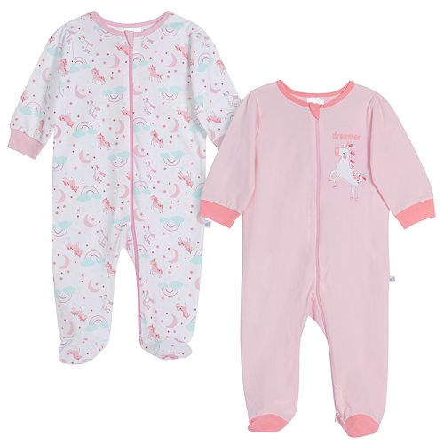 Baby Girl Just Born® Unicorn 2 Pack Zip-front Sleep 'n Play