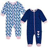 Baby Girl Just Born® Hearts 2 Pack Zip-front Sleep 'n Play