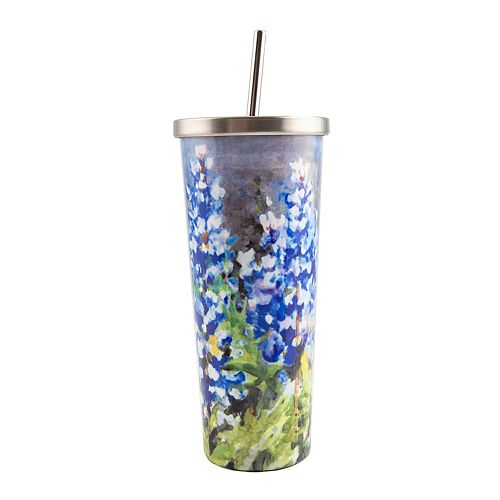 Cambridge 24-oz. Stainless Steel Bluebonnet Cup with Straw