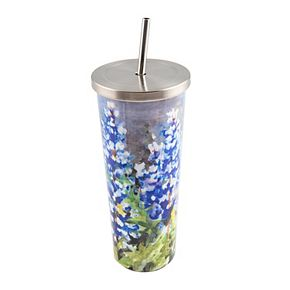 Cambridge 24-oz. Stainless Steel Blue Bonnets Cup with Straw