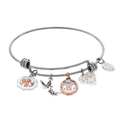 """Womens love this life """" Sister Foverver"""" Butterfly Rose Gold Bangle"""