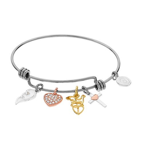 Womens love this life Crystal Wing, Heart, and Bird Stone Bangle