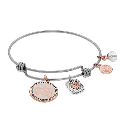 Womens love this life Heart Rose Gold Two Tone Bangle