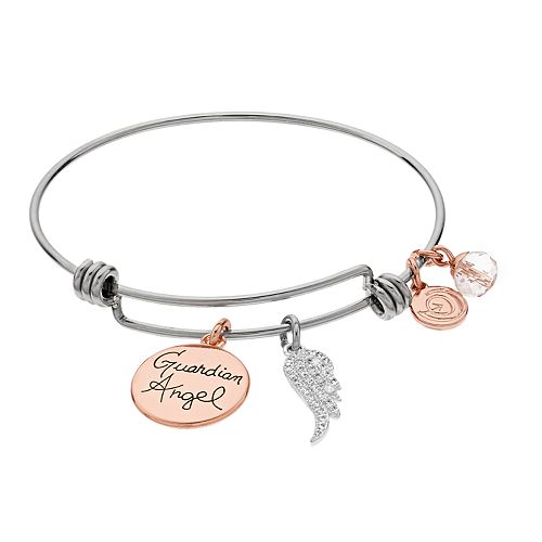 Womens love this life Gaurdian Angel CZ Wing Rose Gold Two Tone Bangle