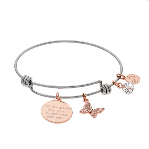 Womens love this life Crystal Arrow Rose Gold Two Tone Charm Bangle