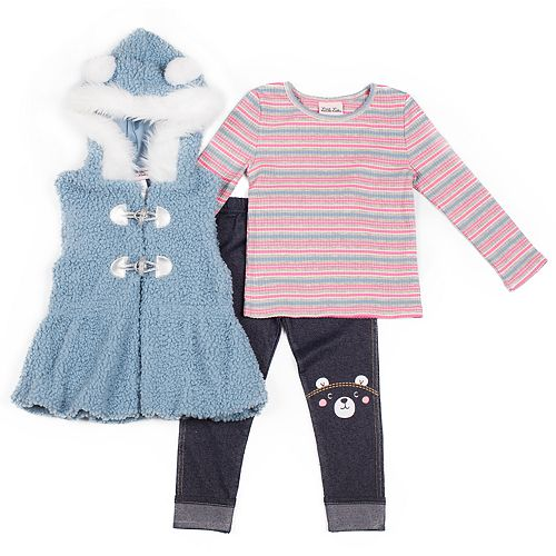 Toddler Girl Little Lass Striped Tee, Hooded Vest & Jeggings Set