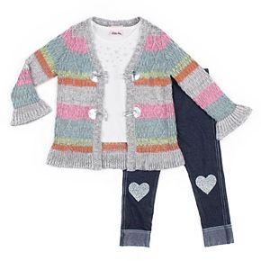 Toddler Girl Little Lass Striped Cardigan, Tee & Heart Jeggings Set