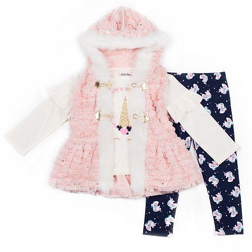 Toddler Girl Little Lass Faux-Fur Vest, Unicorn Tee & Leggings Set