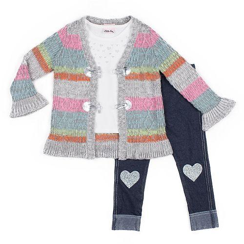 Baby Girl Little Lass Striped Cardigan, Tee & Heart Jeggings Set