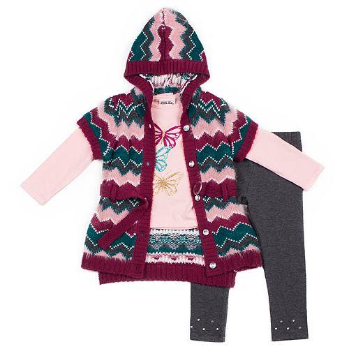 Baby Girl Little Lass Chevron Hooded Cardigan, Graphic Tee & Leggings Set