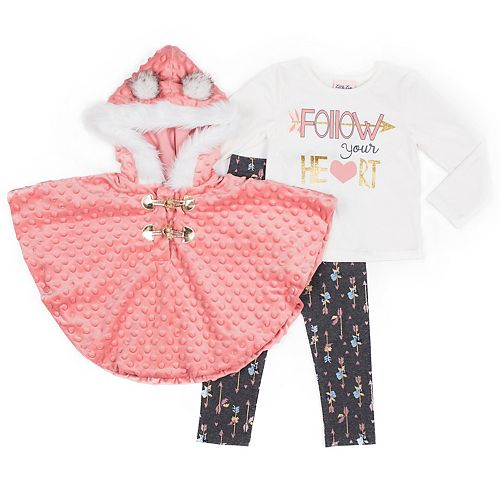 Baby Girl Little Lass Hooded Poncho, Tee and Printed Leggings Set