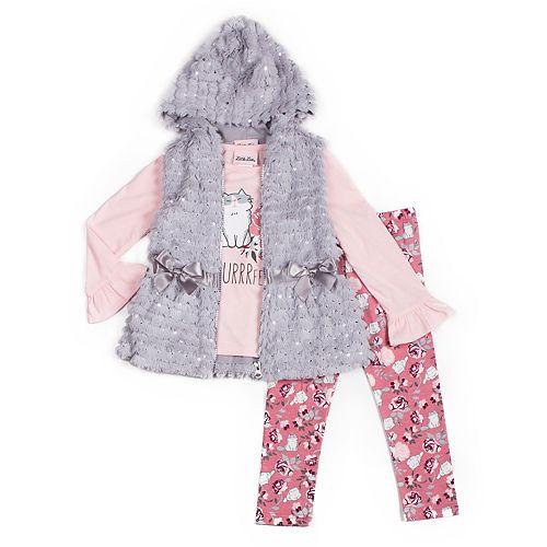 Baby Girl Little Lass Graphic Tee, Faux-Fur Hooded Vest & Floral Leggings Set