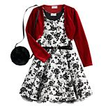 Girls 4-6x Knitworks Flocked Skater Dress with Red Bolero and Purse