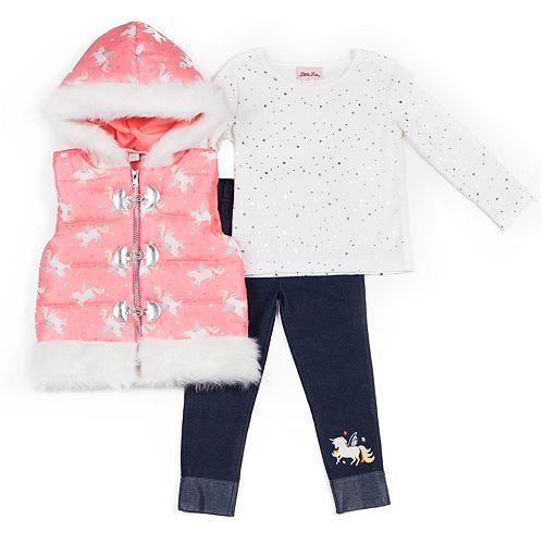 Baby Girl Little Lass Unicorn Puffer Vest, Glitter Top & Jeggings Set