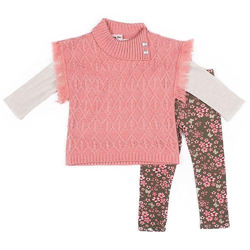 Baby Girl Little Lass Fringe Sweater, Solid Tee & Floral Leggings Set