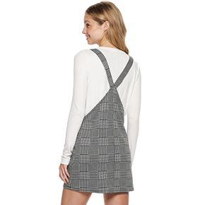 Juniors SO® Knit Pocket Plaid Pinafore