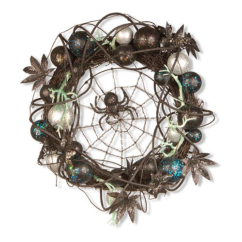 National Tree Company Black Spider Halloween Wreath