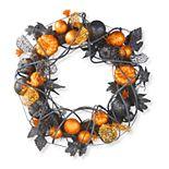 National Tree Company Pumpkin Wreath with Black Ornaments