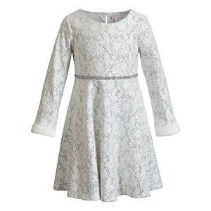 Girls 4-6x Youngland Lace Faux-Fur Dress