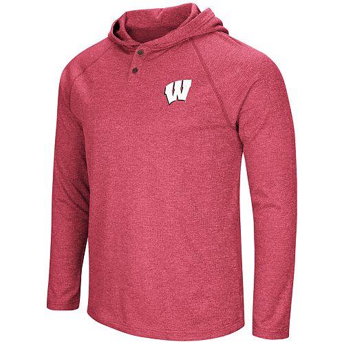 Men's NCAA Wisconsin Badgers Hooded Henley Tee