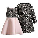 Girls 4-6x Youngland 2-Piece Set Scuba Coat and Dress