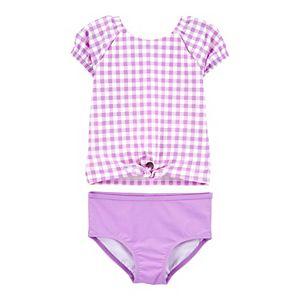 Carters Baby Girls 2 pc Swimsuit Cover-up Set Peplum Hem
