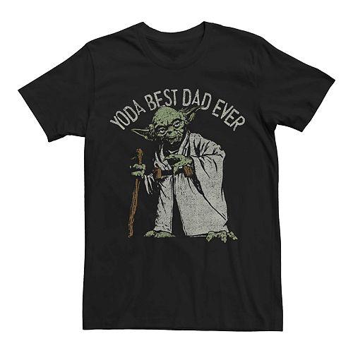 Men's Star Wars Yoda Best Dad Ever Vintage Graphic Tee
