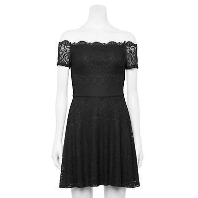Juniors' Rewind Off The Shoulder Lace Dress