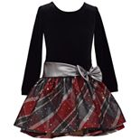 Girls 7-16 Bonnie Jean Velvet Dress with Drop Waist Plaid Skirt