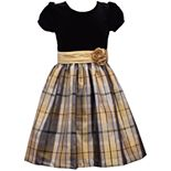Girls 7-16 Bonnie Jean Velvet Bodice with Taffeta Plaid Skirt