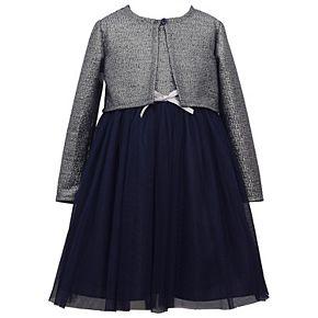 Girls 7-16 Bonnie Jean Long Sleeve Metallic Dress with Knit Cardigan