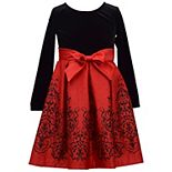 Girls 7-16 Bonnie Jean Long Sleeve Flocked Border Dress and Satin Skirt
