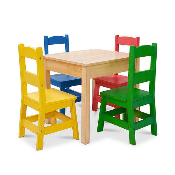 Melissa Doug Kids Furniture Wooden Table And 4 Chairs Primary Colors